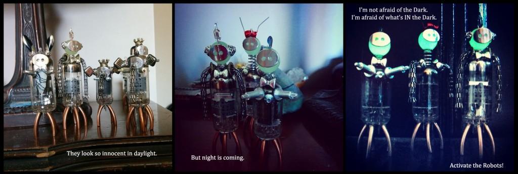 Glow-in-the-dark Bots! Glow in the dark robots... I think they look like alien robots.